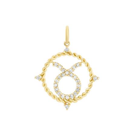 Taurus Zodiac Pendant with 0.20 Carat TW of Diamonds in 10kt Yellow Gold