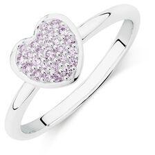 Online Exclusive - Purple Cubic Zirconia Heart Ring