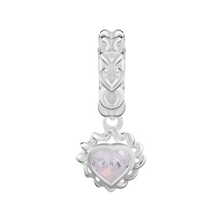 White Cubic Zirconia & Sterling Silver Heart Charm
