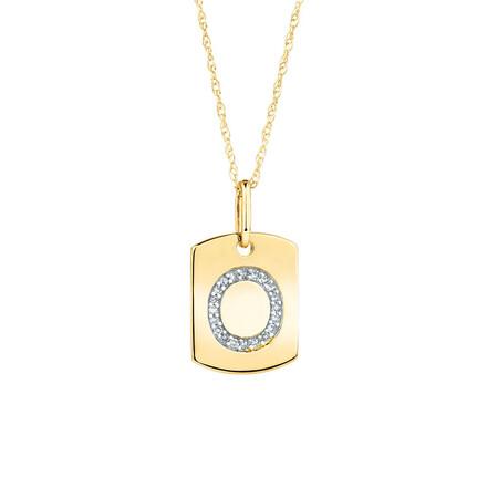 """O"" Initial Rectangular Pendant With Diamonds In 10ct Yellow Gold"