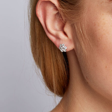 Cluster Stud Earrings with Cubic Zirconia in 10kt White Gold