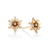 Flower Stud Earrings with 0.20 Carat TW of Diamonds in 10kt Yellow Gold