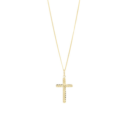 Twist Cross Pendant in 10kt Yellow Gold
