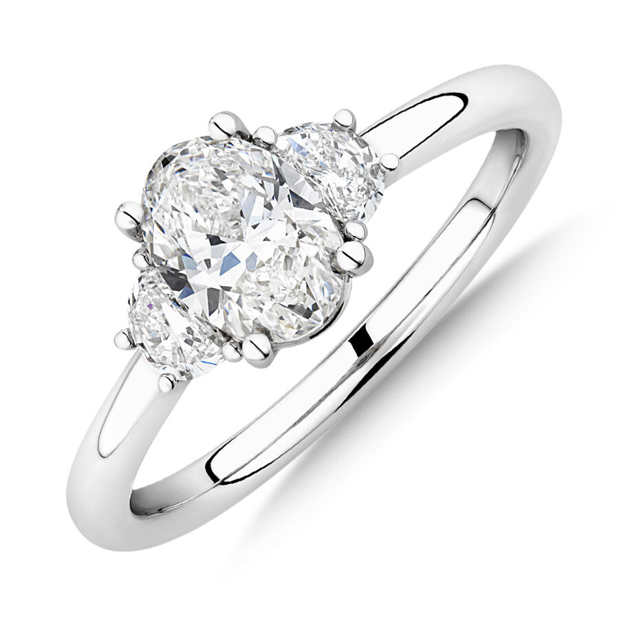 Sir Michael Hill Designer Three Stone Oval Engagement Ring with 1.04 Carat TW of Diamond in 18kt White Gold
