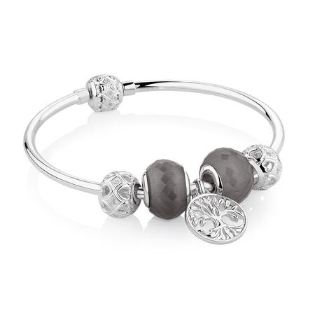 """17cm (7"""") Tree of Life Starter Charm Bangle with Cubic Zirconia & Glass in Sterling Silver"""