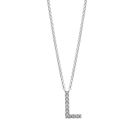 """""""L"""" Initial necklace with 0.10 Carat TW of Diamonds in 10kt White Gold"""