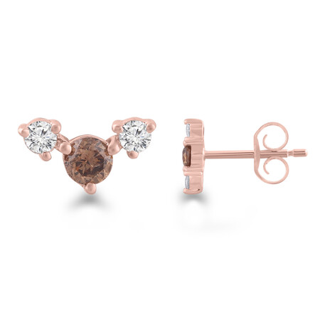 Earrings with 1/4 Carat TW of White & Brown Diamonds in 10kt Rose Gold