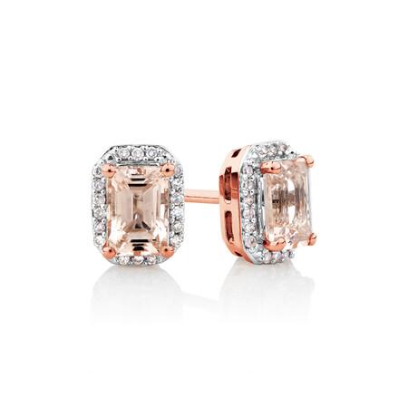 Stud Earrings with Diamonds & Morganite in 10kt Rose Gold