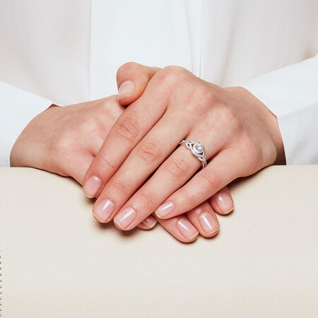 Engagement Ring with 0.65 Carat TW of Diamonds in 14kt White Gold