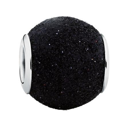 Black Glitter Enamel Charm