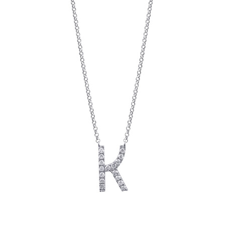 """""""K"""" Initial Necklace with 0.10 Carat TW of Diamonds in 10kt White Gold"""