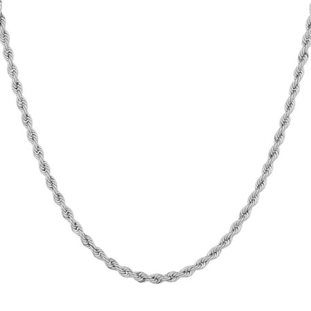 "50cm (20"") Hollow Rope Chain in 10kt White Gold"