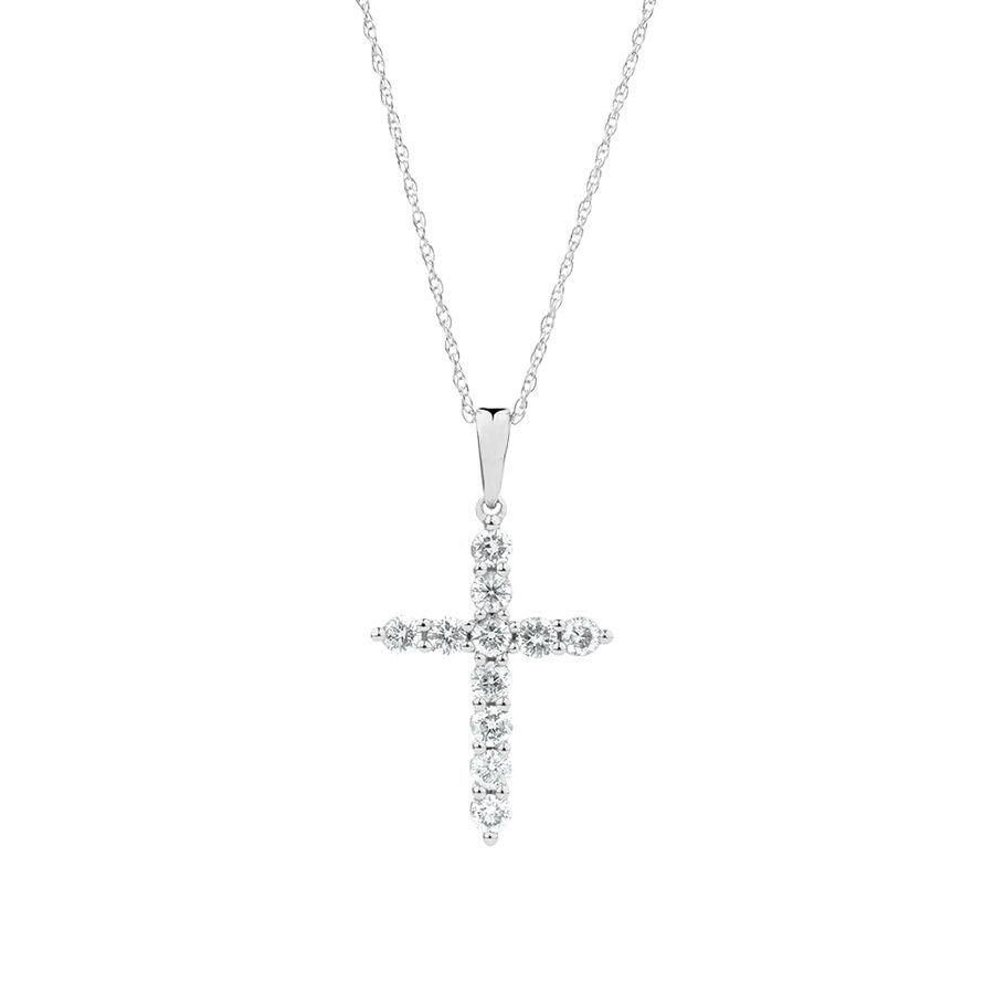 Cross Pendant with 1/2 Carat TW of Diamonds in 10kt White Gold
