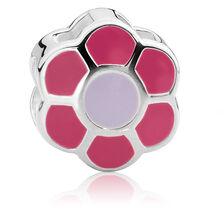 Sterling Silver & Pink & Purple Enamel Flower Charm