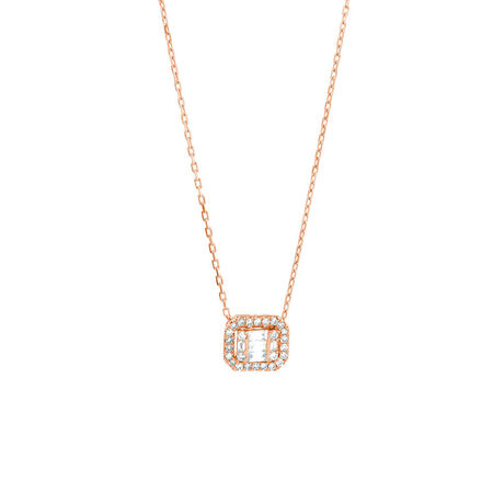 Rectangular Diamond Pendant with 0.15 Carat TW of Diamonds in 10kt Rose Gold
