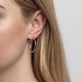 Patterned Hoop Earrings in 10kt White Gold
