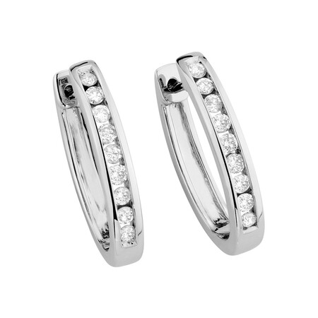 Huggie Earrings with 0.34 Carat TW of Diamonds in 10kt White Gold