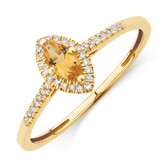 Ring with Citrine & Diamonds with 10kt Yellow Gold
