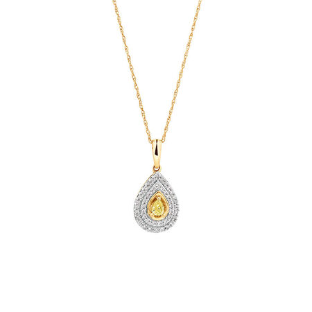 Pendant with 1/3 Carat TW of White & Natural Yellow Diamonds in 10kt Yellow Gold