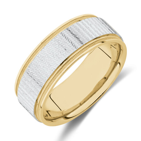 8mm Patterned Ring in 10kt Yellow & White Gold