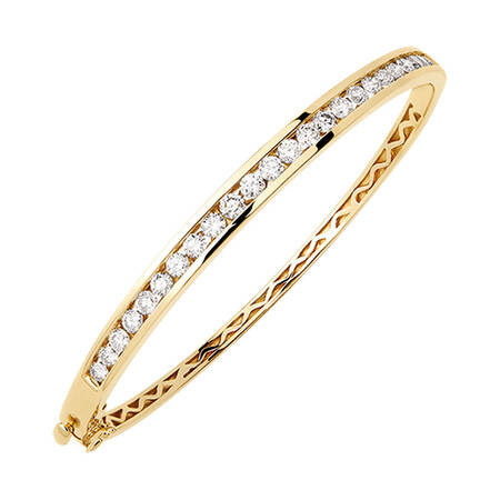 Hinged Bangle with 2 Carat TW of Diamonds in 10kt Yellow Gold