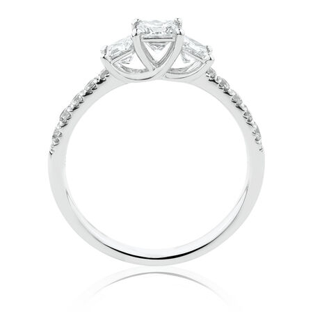 Evermore Three Stone Engagement Ring with 1 Carat TW of Diamonds in 14kt White Gold