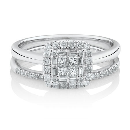 Evermore Bridal Set with 1/2 Carat TW of Diamonds in 10kt White Gold