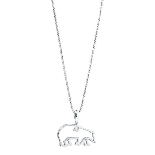 Polar Bear Pendant with a Diamond in Stirling Silver