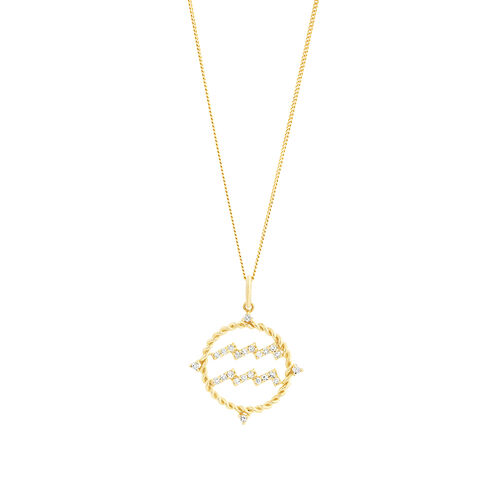 Aquarius Zodiac Pendant with 0.15 Carat TW of Diamonds in 10kt Yellow Gold