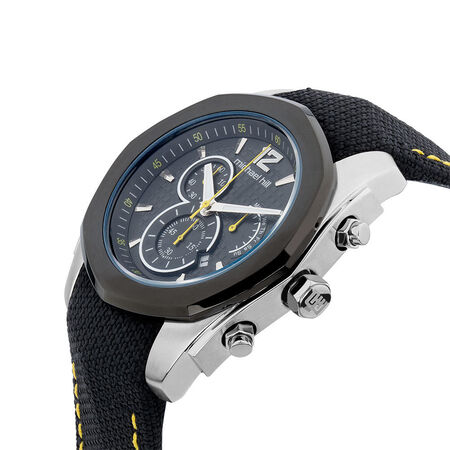 Men's Chronograph Sports Watch in Black Stainless Steel & Resin