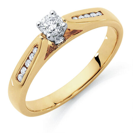 Engagement Ring with 1/4 Carat TW of Diamonds in 10kt Yellow & White Gold