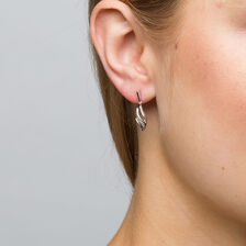 Drop Earrings with Diamonds in Sterling Silver