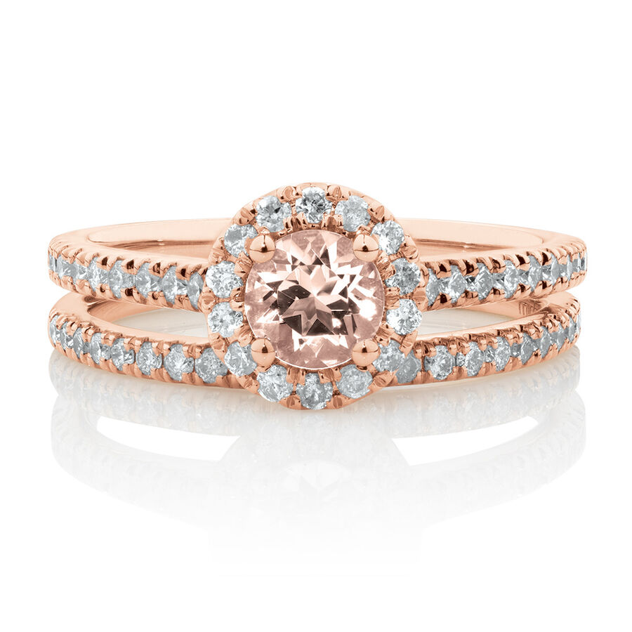 Evermore Bridal Set with Morganite & 1/2 Carat TW of Diamonds in 14kt Rose Gold