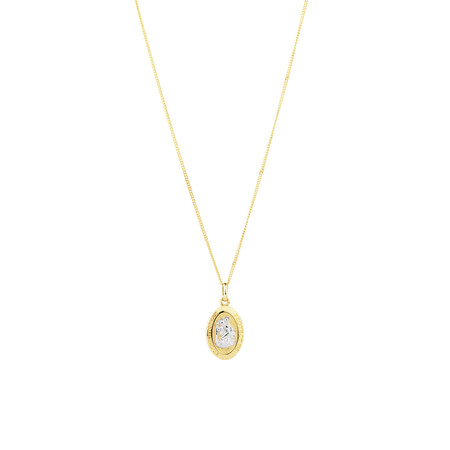 St Christopher Pendant in 10kt Yellow & White Gold