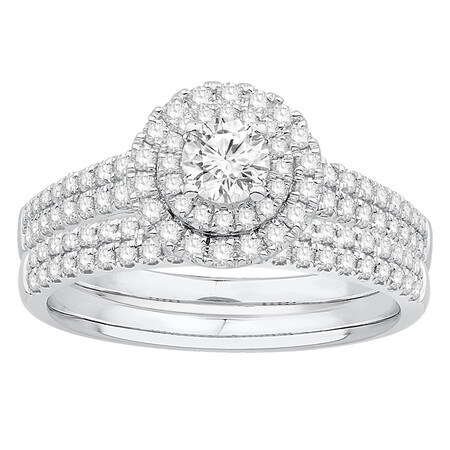 Bridal Set with 1.00 Carat TW of Diamonds in 10kt White Gold