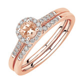 Evermore Bridal Set with Morganite & 0.20 Carat TW of Diamonds in 10kt Rose Gold