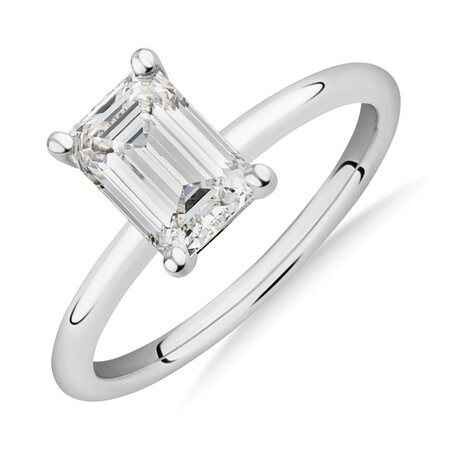 Laboratory-Created 1.50 Carat Emerald Cut Diamond Ring In 14kt White Gold