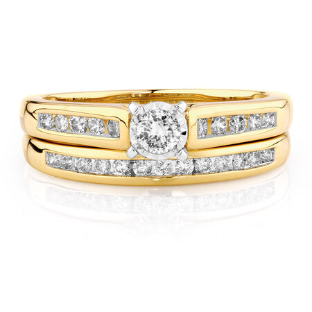 Bridal Set with a 1/2 Carat TW of Diamonds in 10kt Yellow & White Gold