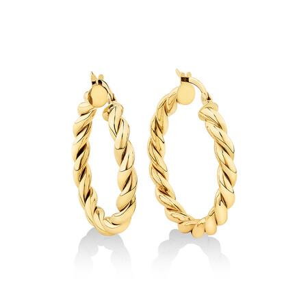 20mm Braid Twist Hoop in 10kt Yellow Gold