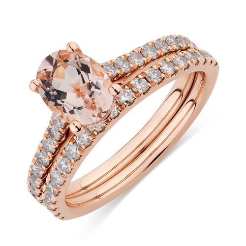 Bridal Set with 5/8 Carat TW of Diamonds & Morganite in 14kt Rose Gold