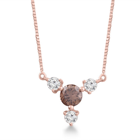 Necklace with 0.33 Carat TW of White & Brown Diamonds in 10kt White Gold
