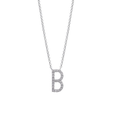 """""""B"""" Initial necklace with 0.10 Carat TW of Diamonds in 10kt White Gold"""