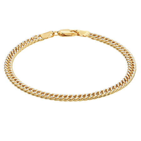 """19cm (7.5"""") Curb Bracelet in 10kt Yellow & White Gold"""