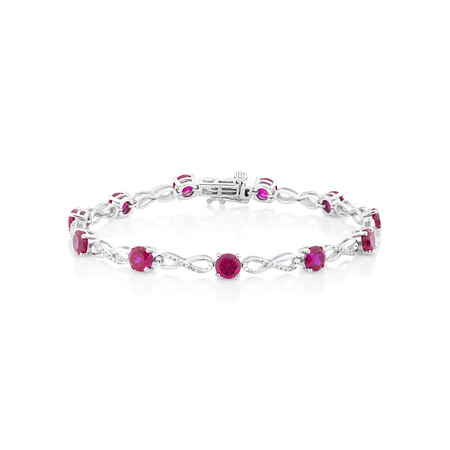 Bracelet with Created Ruby and 0.03 Carat TW of Diamonds in Sterling Silver
