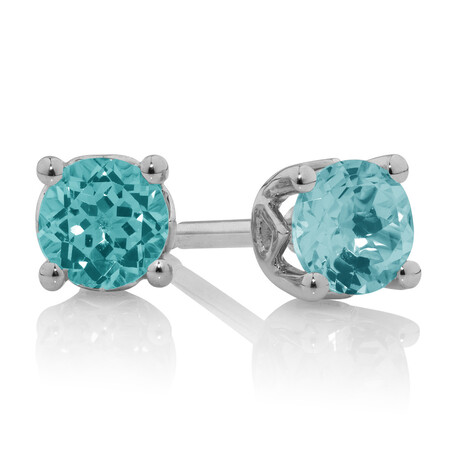 Stud Earrings With Aquamarine In 10kt White Gold