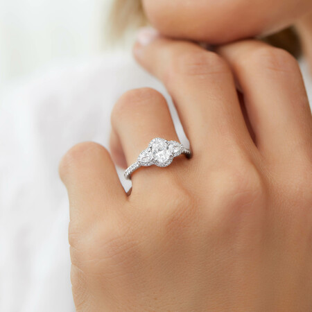 Sir Michael Hill Designer Three Stone Halo Engagement Ring with 1.26 Carat TW of Diamonds in 18kt White Gold