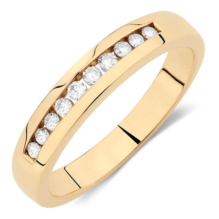 Online Exclusive - Men's Wedding Band with 1/4 Carat TW of Diamonds in 10kt Yellow Gold
