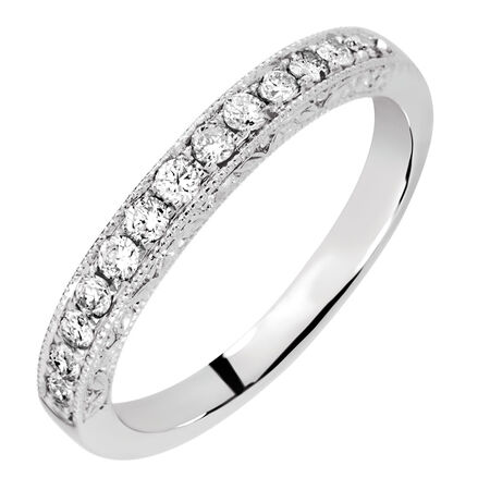Wedding Band with 0.30 Carat TW of Diamonds in 14kt White Gold