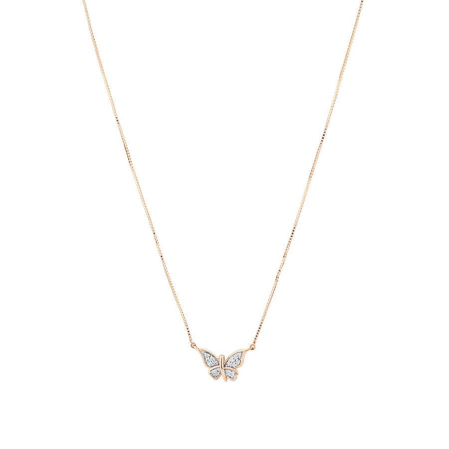 Butterfly Necklace with Diamonds in 10kt Rose Gold