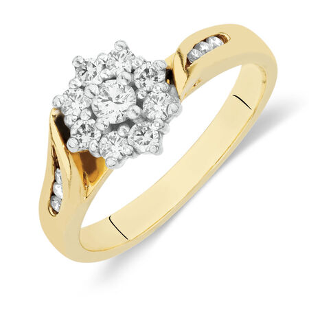 Online Exclusive - Flower Cluster Ring with 1/2 Carat TW of Diamonds in 18kt Yellow and White Gold